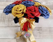 Paper Flower wedding bridal bouquet alternative pretty vintage cute Beauty and the Beast theme blue red yellow gold Disney Princess Belle