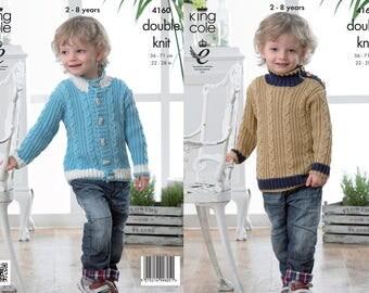 King Cole Knitting pattern, jumper pattern, cardigan pattern, knit pattern, double knit project pattern, DK knitting pattern