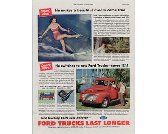 Vintage 1950 poster advertisement for a Ford truck - 56