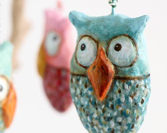 Paper mache owl decoration | Bluish with mint green | Large | 7 cm | 2,7 ''