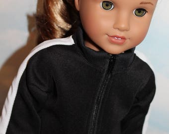 18 Inch Doll (like American Girl) Black and White Side Stripe Sporty Zip Front Track Suit