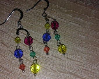 Elegant Vintage - Women Long Earrings - Facet Glass Sky Blue - Yellow - Purple - Green Crystal Stone