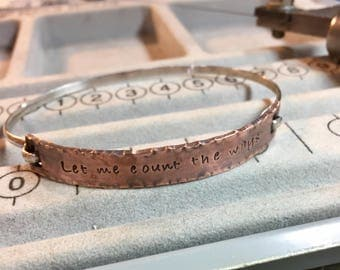 Poetry Bracelet in Copper and Sterling Let Me Count the Ways