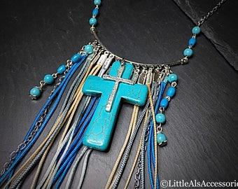 Gypsy Statement Necklace, Turquoise Cross Pendant, Fringe Jewelry, Large Cross, Festival Jewelry, Boho Gifts, Layering Necklace, Bohemian