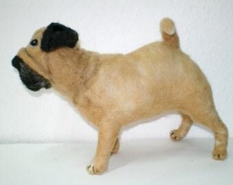Felted Pug Dog Figurine, Decorative Pug Dog, Handmade OOAK Dog Needle-Felted
