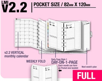 FULL [POCKET size v2.2 w DS1 do1p] January to December 2018 - Filofax Inserts Refills Printable Binder Planner Midori.