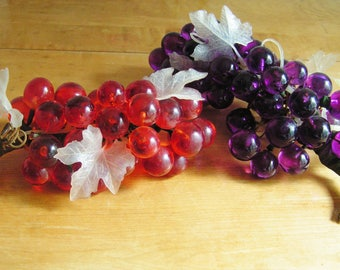 2 Vintage Lucite Grape Clusters Purple and Orange Retro Mid Century Decor 60s Acrylic Grapes