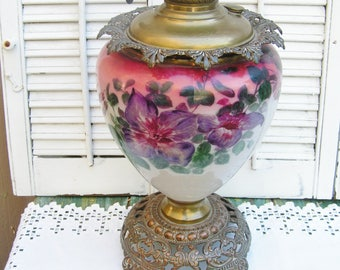 Antique Vintage Hand Painted Floral Victorian GWTW Oil Lamp SUCCESS Banquet Lamp Base Brass and Glass
