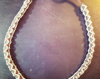 Inverted round suede chainmaille choker