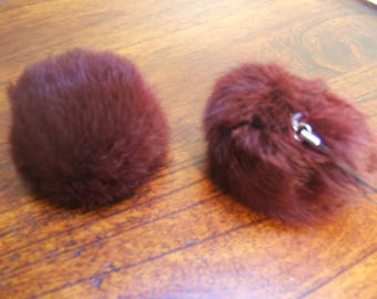 2 tassels rabbit diameter 8 cm with clasp removable Brown RUSTY color
