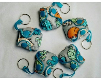 "Pocket Diaper Keychain diaper 2"" mini  Stuffable pocket style with insert Blue Elephant Key chain diaper"