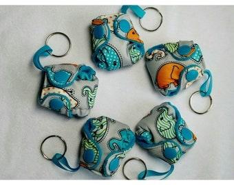 "Pocket Diaper Keychain diaper 2"" mini  Stuffable pocket style with insert Blue Elephant Key chain diaper"