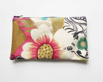 Large Floral Makeup Bag- Personalized Makeup Bag - Monogrammed Cosmetic Bag