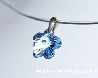 Blue SWAROVSKI crystal flower pendant / 925 sterling silver