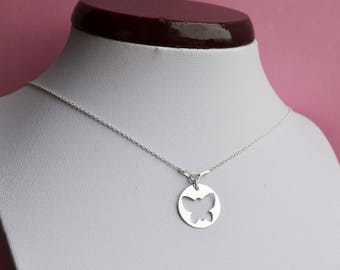 """Silver necklace 925 """"round Butterfly"""""""