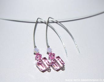 Pink SWAROVSKI Crystal cube earrings / 925 sterling silver