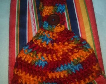 Crochet hanging kitchen towel very colorful