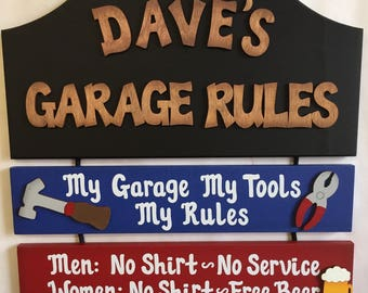 Garage Rules Personalized wooden wall sign Garage Rules wooden rope sign Garage signs Garage decor Man cave wall signs gifts for dads garage