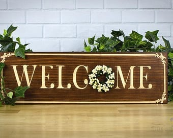 Entryway Welcome Sign, Farmhouse Style, Traditional Welcome, Pip Berry Wreath, Entryway Sign, Housewarming Gift, New Home Gift, Wood