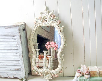 Antique White and Blush Vintage Ornate Mirror, Shabby Chic Large Pink and Mint Nursery Mirror, Floral Ornate Mirror, Cream and Blush Mirror