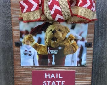 Mississippi State Hail State Whitewashed Rustic Frame