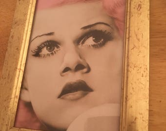 Jean Harlow pink hair print in a gold frame 6x4""