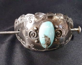 Native American Hair Pin ~ Sterling Silver with Turquoise ~ Vintage