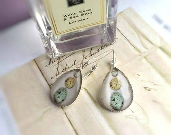 Bird's egg glass teardrop earrings  with silver plated lever-backs