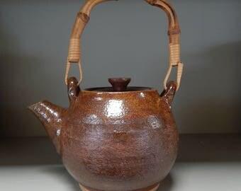 Hand-thrown Stoneware Red Brown Bamboo Handle Tea Pot