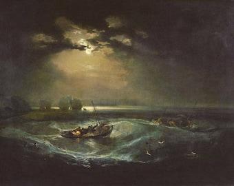 JMW TURNER - 'Fishermen at Sea' - original archival quality print - large (Curwen Press, London)