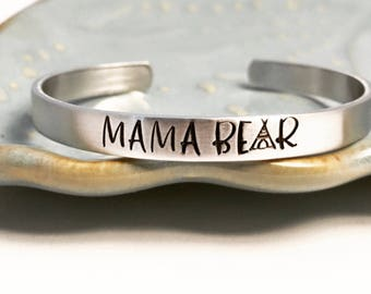 MAMA BEAR ~ copper ~ bronze ~ aluminum ~ sterling silver ~ custom ~ stacking bracelet ~ mother ~ mommy ~ momma ~ baby ~ little ~ cuff ~ HLJ