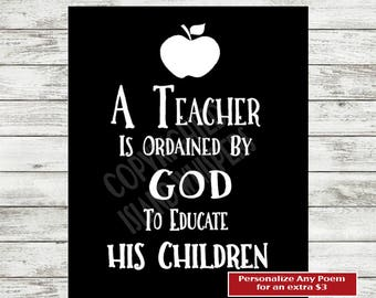 Christian Teacher Print, Teacher Appreciation, Sunday School Teacher Gift, Teacher Thank You Gift, Private School Teacher, Teacher Quote