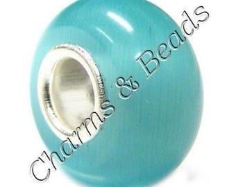 1 Pearl blue cat eye glass charm compatible pandor chamili