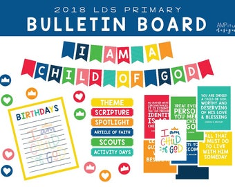 2018 LDS Primary I am a Child of God Bulletin Board Decorations - Printable - I am a Child of God - Download - Bulletin Board - 2018 Primary
