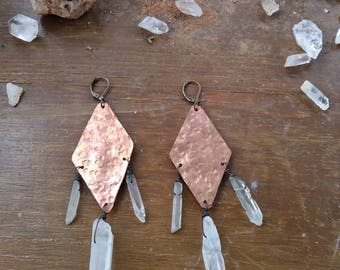 Quartz + copper earrings