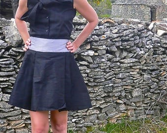 Magnolia skirt and shirt set in black and grey silk