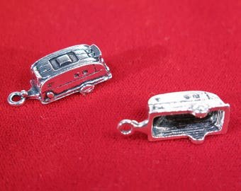 """BULK 15pc """"camper"""" charms in antique silver style (BC1284B)"""