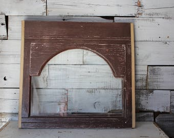 Old Arched Window Frame, Brown Chippy Paint Vintage Window, Window Pane, Farmhouse Decor, Farmhouse Wall Decor, Architectural Salvage Window