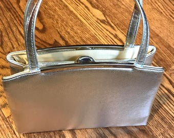 Vintage Miss Lewis Silver Metallic Evening Handbag