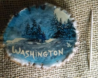 Antler Belt Buckle, elk antler burr/rosette, original painting State of Washington scene, moonlit Trees/mountain on State Buckle
