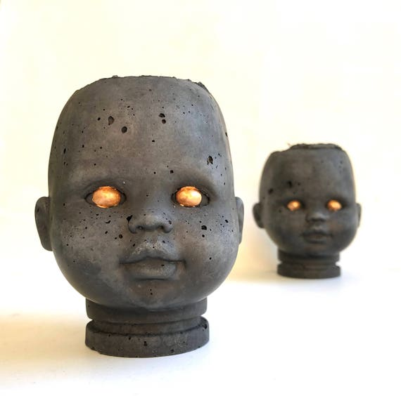PeaboZombie Baby Doll Head Planter - Hypertufa