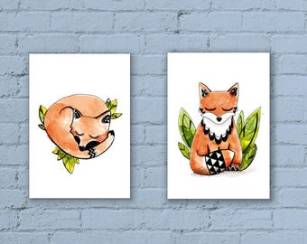 2 art print A4 - Fox - Illustration - decoration - graphics