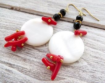 White mother of pearl earrings, red coral earrings, summer earrings, dangle earrings, holiday jewelry, modern jewelry, gemstone earrings