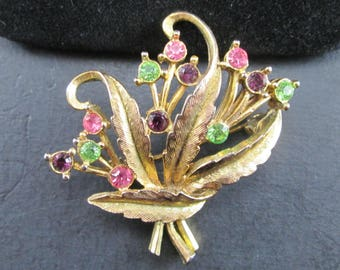Vintage Rhinestone Leaf Brooch Pin Gold Tone with Pink Purple and Green Stones