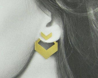 Yellow Gold Earrings, 14K Gold Earrings, Elegant Gold Earrings, Gold Chevron, Unique Gold Earrings, Gold Earrings for Her, Statement Earring