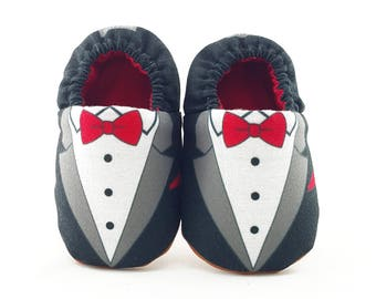 Tuxedo Soft Soled Baby Shoes | Fabric Baby Shoes | Handmade Baby Booties | Prewalker Shoes | Non Slip Baby Shoes