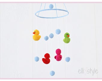 baby mobile ducklings - nursery mobile - crochet mobile - made to order