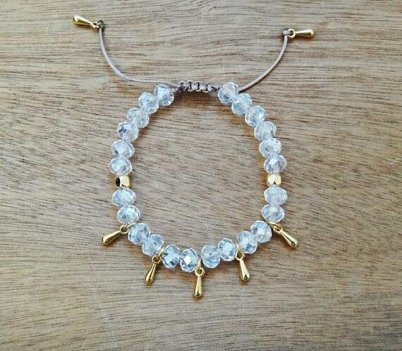 "Crystal Beaded ""Shooting Stars"" Bracelet • Golden Drops • Gold plated brass • Layered Bracelets • Handmade Stacked Bracelets"