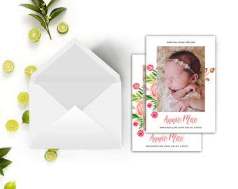 Baby Girl Announcement // Girl Birth Announcement // Floral Baby Announcement Cards // 5x7 Printable Photo Birth Announcement // The Annie