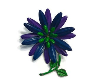 Vintage Tropical Flower Brooch, Purple and Green Enamel Flower Brooch, Mod Flower Pin, Flower Power Brooch, Costume Jewelry